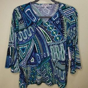 Abstract Print Slinky Top w/Silver Paillettes 1X